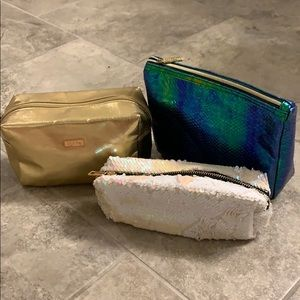 Tarte Makeup bags mermaid gold sequin lot of 3